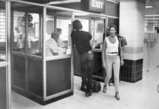 1986 Debbie Wallace re-enactment of Anita Cobby's last hours. Photo shows Debbie arriving at Central railway station to catch a train to Blacktown, 9 February 1986.