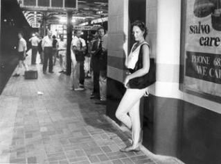 1986 Debbie Wallace re-enactment of Anita Cobby's last hours. Photo shows Debbie at Central railway station waiting to catch a train to Blacktown, 9 February 1986