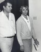 Gary Steven Murphy, 28, charged with stealing motor vehicle, sexual assault, abduction, murder assault and robbery of Anita Cobby, at Blacktown Police Station, 27 February 1986.