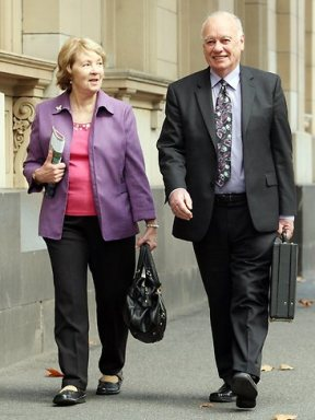Elisabeth Membrey's parents Joy and Roger outside court