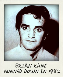 A police mug shot of notorious standover man Brian Kane, gunned down in 1982 during the underworld war over the Great Bookie Robbery.-pola