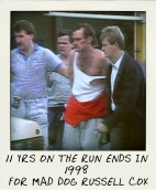 After 11 years on the run, Russell Cox was arrested at a Melbourne shopping centre in 1988-aussiecriminals