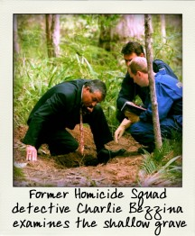 Former Homicide Squad detective Charlie Bezzina examines the shallow grave-aussiecriminals