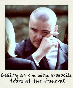 The infamous picture of Matthew Wales shedding tears at the joint funeral of his mother Margaret Wales-King and Paul King.-aussiecriminals (2)