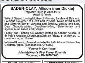 Allison Baden-Clay funeral notice in The Courier-Mail May 8, 2012
