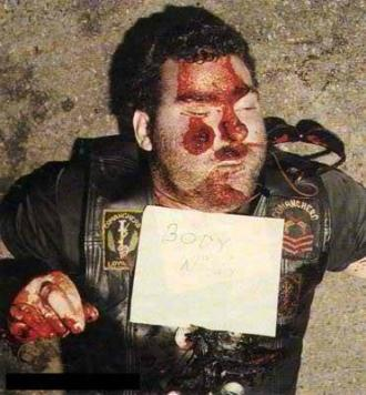 """Comanchero """"LeROY"""" Was the Comanchero's """"Sergeant At Arms"""" and was a """"hit"""" target. He was shot with the .357 magnum """"Rossi"""" rifle and died instantly. Entry and exit wound indicate """"LeROY"""" was crouching over and was shot in the back."""