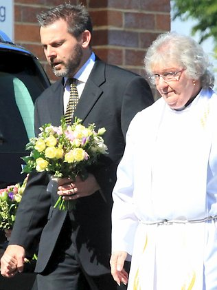 Gerard Baden-Clay enters the back entrance of St Paul's Anglican Church for the funeral of his wife, Allison.