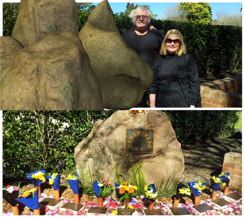 "JOCK ROSS AND HIS MISSUS VANESSA ""NESS"" ROSS Visit the COMANCHERO MEMORIAL UP THE COAST AT Palmdale Memorial Park and Crematorium. To protect some younger family members I have altered them out of the picture"