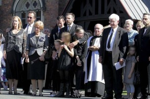Mourners gather at the funeral of Allison Baden-Clay Funeral at St Paul's Anglican Church