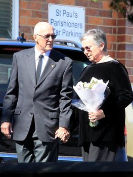 Nigel and Elaine Baden-Clay enter the funeral for daughter-in-law Allison at St Paul's Anglican Church, Ipswich.