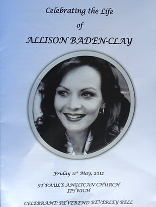 Service notes at the funeral of Allison Baden-Clay