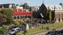 The scene on Friday in Ipswich for the funeral of Allison Baden-Clay at St Paul's Anglican Church at Ipswich