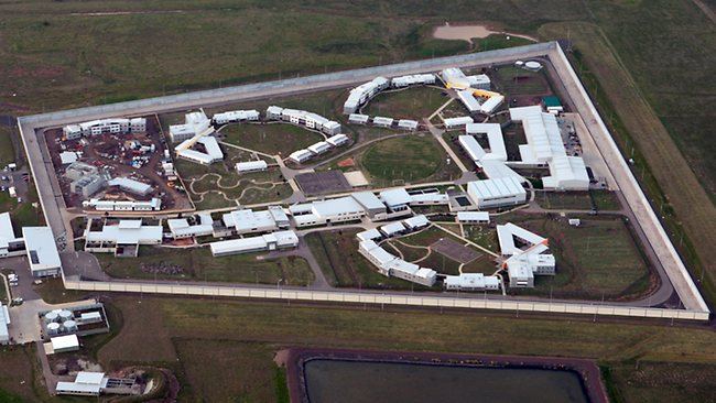 An aerial shot of Barwon Prison WHERE SREWS HAVE BEEN ARRESTED AMID A drug trafficking RING INSIDE  THE PRISON!