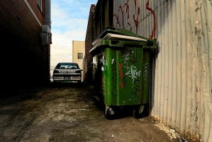 A bin and parked car in a laneway off Hope St, Brunswick, where Jill Meagher's handbag was found