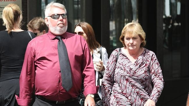 Bruce and Denise Morcombe arrive at the Supreme Court in Brisbane today for the murder trial of Brett Cowan for the death of their son Daniel Morcombe.