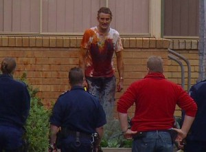 David Hopkins is cornered by police at a Bayswater church after he set fire to Nicole Millar