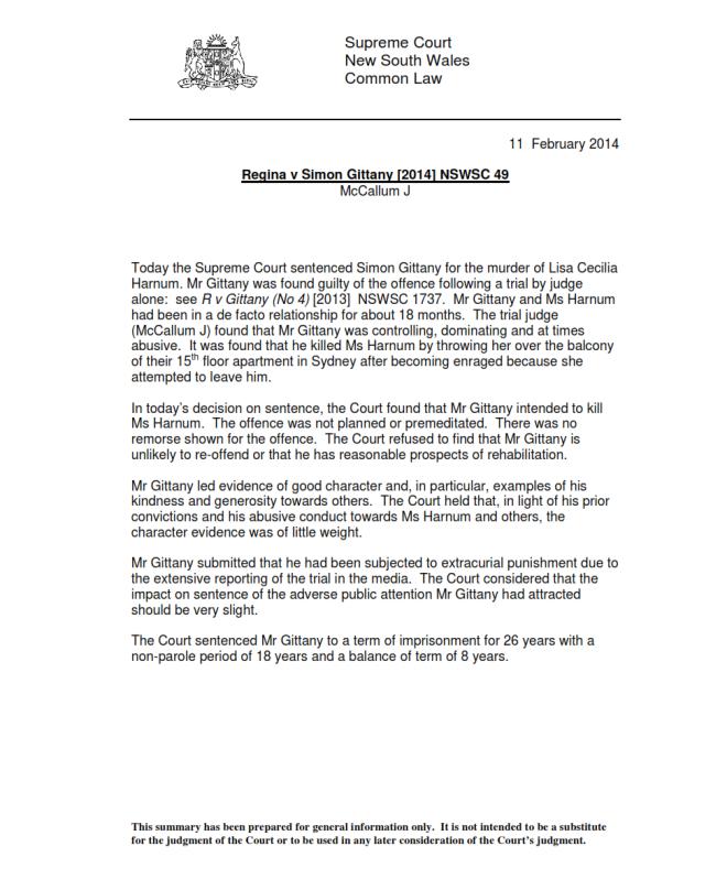 Gittany Sentence Summary 11-02-14