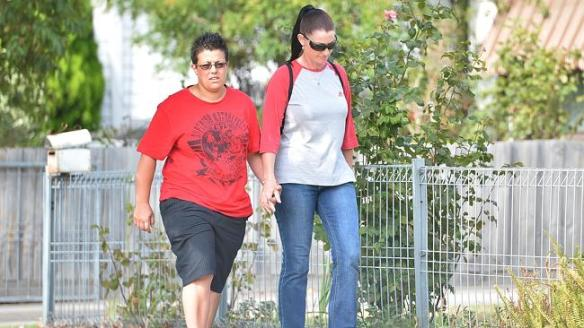 Tania Herman, the mistress of Joe Korp, who killed his wife Maria and her girlfriend go for a walk in Yarraville.