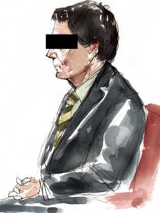 Courtroom sketch of Daniel Morcombe murder accused Brett Peter Cowan.