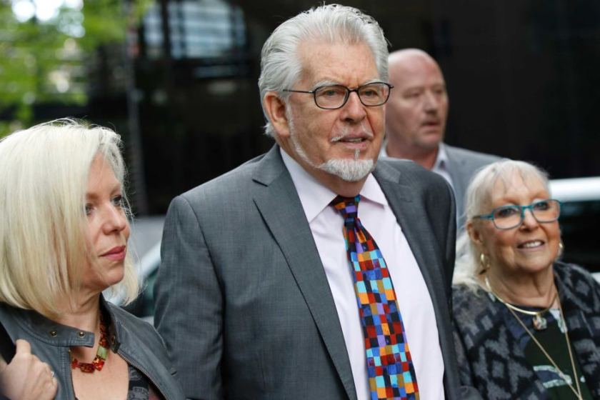 Rolf Harris arrives at court with his daughter Bindi and wife Alwen Hughes.