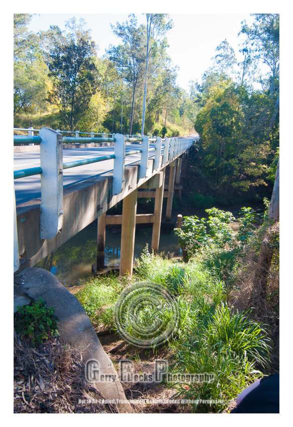 Right side of Kholo Creek Bridge (City direction my back). More accessible on this side than the left side of the bridge.  Allison's body was located under the bridge and to the left as you look from here.