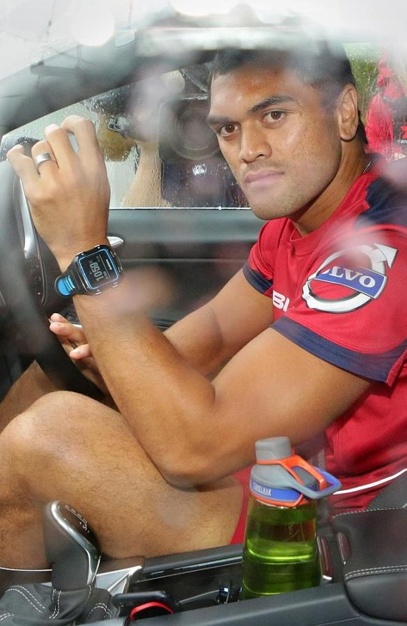 Karmichael Hunt arrives at his home yesterday after the cocaine claims exploded.