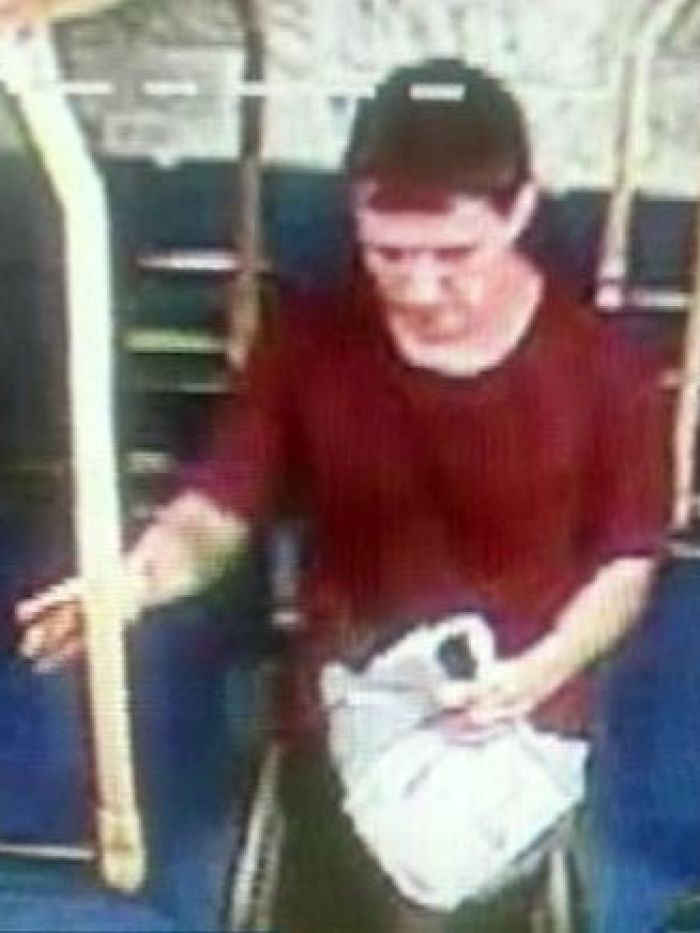 A man wanted for questioning over the stabbing death of Masa Vukotic boards a bus in Doncaster. (Victoria Police).jpg