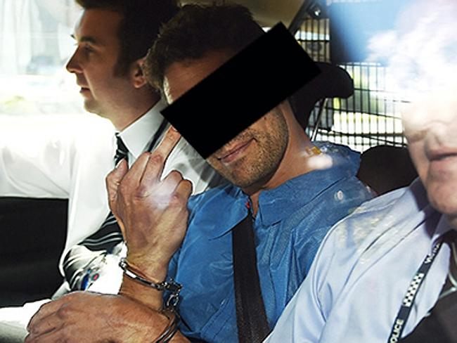 Sean Price smiled at cameras and stuck up his finger as he was taken from Sunshine police station.