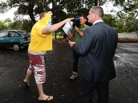 Thompson lashes out at Seven News report Robert Ovadia outside court. Picture-Liam Driver
