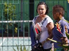 2010_ Convicted Australian drug trafficker Schapelle Leigh Corby walks with her cell-mate in Kerobokan Jail in Bali after visiting time on_0028